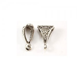 Bail, antiqued silver-finished inchpewterinch (zinc-based alloy), 6x10x15mm . Sold per pkg of 20pcs.
