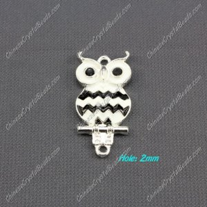 owl charms, 17x33mm, black, 1pcs