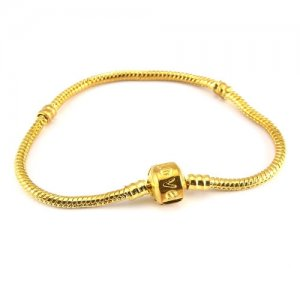 1pcs gold plated Snake Chain Bracelet Fit European Charm Beads (Stamped Clasp)