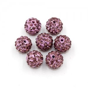 50pcs, 12mm Pave beads, hole: 1.5mm, clay disco beads, med purple