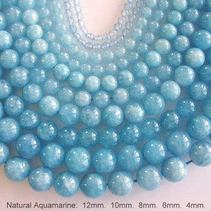 Natural Aquamarine Bead Strands, round, 4mm 6mm 8mm 10mm ,15 Inch