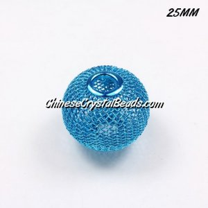 25mm aqua Mesh Bead, Basketball Wives, 10 pieces