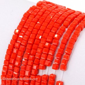 2x2mm cube crytsal beads, opaque red velet 1, 195pcs