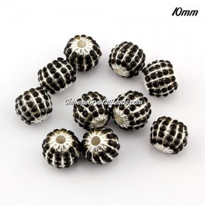 alloy pave disco beads, 10mm, 1.5mm hole, 60 crystal stone, black, sold 10 pcs