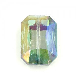 Chinese Crystal Multi-Faceted Rectangle Pendant, green light, 24 x 33mm, 1pcs