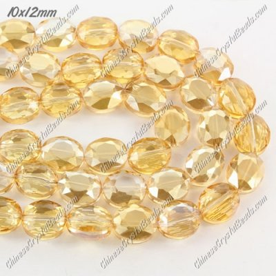 Chinese Crystal Faceted Oval Bead, 7x10x12mm, golden shadow, 20 pcs per strand