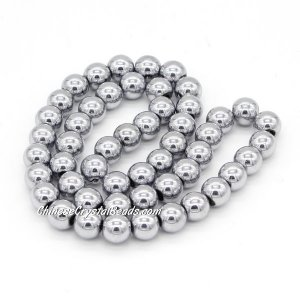51Pcs 8mm Round Glass Beads, hole 1.5mm, Metalic silver