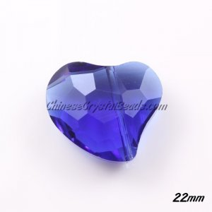 Chinese Crystal 22mm Falling Heart Bead, Sapphire, 6 pcs