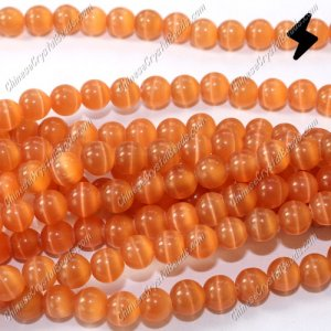 glass cat eyes beads strand, orange, about 15 inch longer