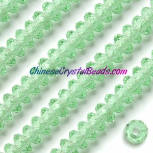 Crystal European Beads, lime green, 8x14mm, 5mm big hole,12 beads