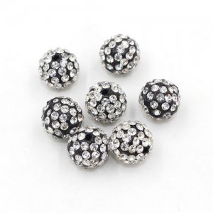 50pcs, 12mm pave clay disco beads, hole: 1.5mm, White and black base