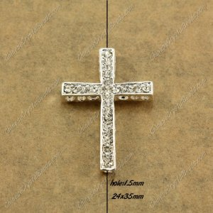 alloy Pave cross Charms, 24x35mm, hole: 1.5mm, silver plated alloy, 1pcs