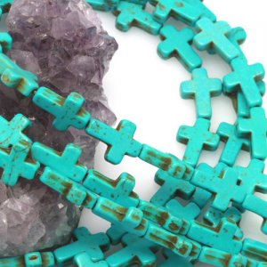 12x16mm Turquoise Green Howlite Turquoise Loose Spacer Beads Cross 15.5 inch strand