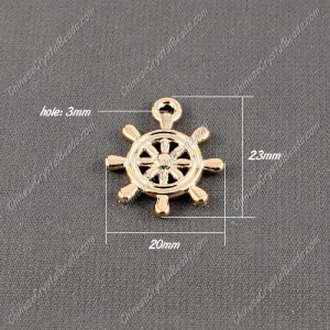 CCB Plastic Beads, golden color, rudder pendant, 23x20xx3mm, hole:3mm, sold per pkg of 50pcs