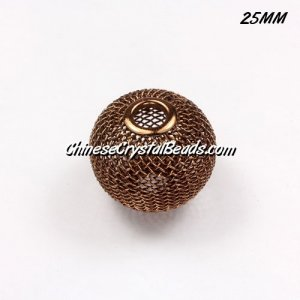 25mm Brown Mesh Bead, Basketball Wives, 10 pieces