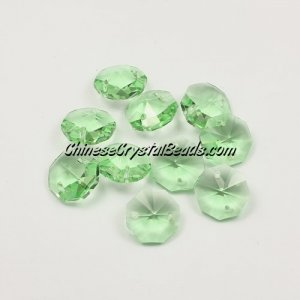 Crystal 14mm Octagon beads , 2 hole, ,Lime green, 20 beads