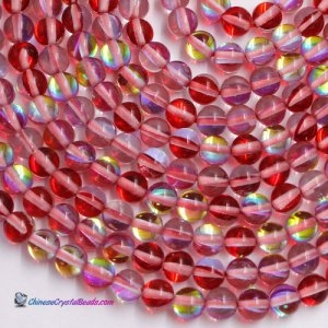 Red Mystic Aura Quartz Beads 6/8/10/12mm Rainbow Holographic Bead Synthetic Moonstone 15.5inch