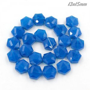 13x15mm Crystal Faceted Hexagon Beads, opal blue, 1 Pc