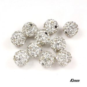50pcs, 10mm Pave (clay) disco beads, hip hop disco beads, white, hole: 1.5mm