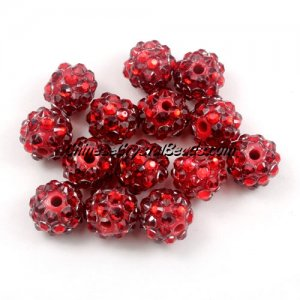 Chinese Crystal Disco Bead Acrylic red 10mm(inside), 25 beads