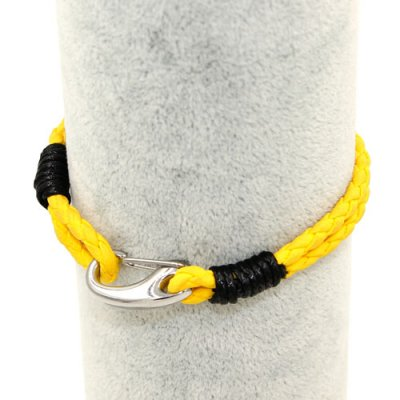 Stainless steel Men's Braided Leather Bracelets Clasp, yellow color