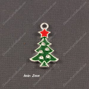 Christmas Alloy Charms pendant , tree, 15x27mm, hole 2mm, sold 1 pcs