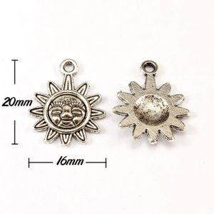 Charm, antiqued silver-finished inchpewterinch (zinc-based alloy), 16x20mm sun. Sold per pkg of 10pcs