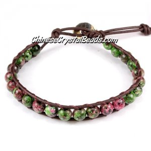Beaded Wrap Bracelet, 6mm unakite beads, 6.5inch