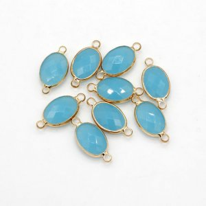 5Pcs 10x21mm aqua jade oval Glass crystal Connecter Bezel pendant, Drops Gold Plated two Loops