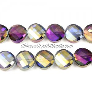 Crystal Twist Bead Strand, 14mm, crystal purple/gold, 10 beads