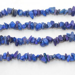 Lapis Lazuli chip, Gemstone Chips, 4mm to 10mm, Hole:1mm, Length:Approx 35 Inch