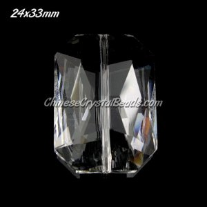 Chinese Crystal Faceted Rectangle Pendant, clear, 24x33mm, 1 pieces