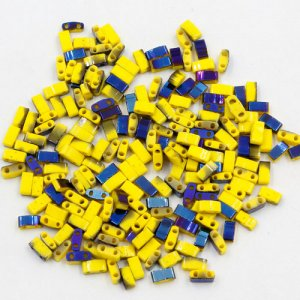 5x2.5mm chinese glass Half Tila yellow and half blue approx 200 beads