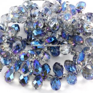 Crystal Briolette Bead Strand, helf bule light, 8x13mm, 98 beads