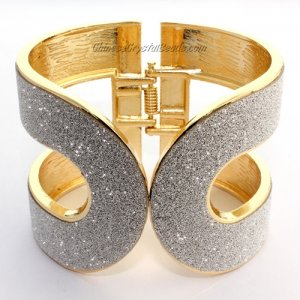 Womens Hinged Bangle Bracelet, alloy gold plated, 50mm wide, Length:60mm