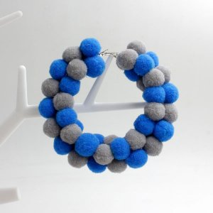 Pom poms Hoop Earring, 2.6 inch, #2, sold by 1 pair