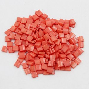 Chinese 5mm Tila Square Bead, opaque Coral red, about 100Pcs