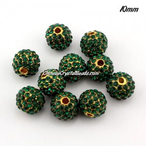 alloy pave disco beads, 10mm, 1.5mm hole, gold plated, sold 10 pcs