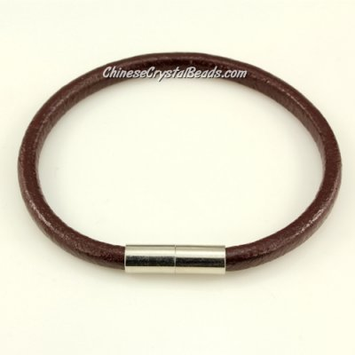 Fashion leather stainless steel Magnetic Bracelet, 5mm round leather, coffee, 7.5 inch