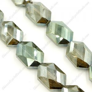 10Pcs Faceted Polygon Hexagon Glass Crystal, yellow and green light, hole: 1.5mm, (2 size)