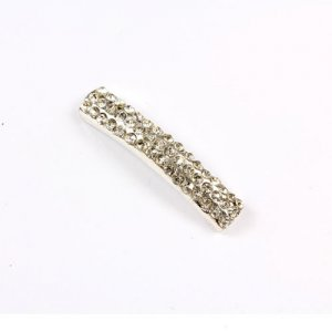 Rhinestone pave tube beads, silver-plated brass, 7x34mm, 1pcs