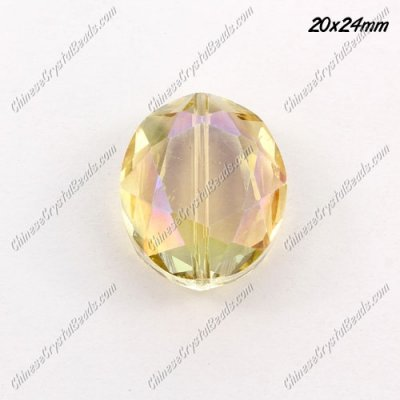Chinese Crystal Faceted Oval pendant, yellow light ,20x24mm, 1 beads