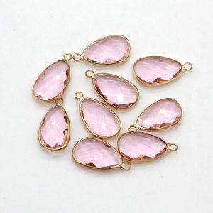 5Pcs 11x21mm pink Glass crystal Connecter Bezel pendant, Drops Gold Plated one Loops