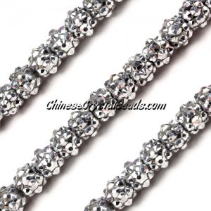 Chinese Crystal Disco Bead Acrylic silver 8mm(inside), 30 beads