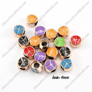 CCB, peace, hole: 4mm, 6x10mm, mixture color, sold per pkg of 20 pcs