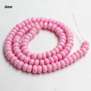 100Pcs 6x3.5mm Smooth Roundel Shape Glass Beads, rondelle glass beads strand, hole 1mm, light pink