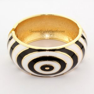 Womens Hinged Bangle Bracelet, alloy gold plated, ripple, 32mm wide, Length:60mm