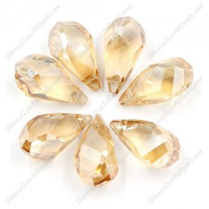 10Pcs Crystal helix Teardrop bead Pendant, 12x22mm, hole:1.5mm, golden shadow