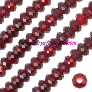 Crystal European Beads, siam, 8x14mm, 5mm big hole,12 beads