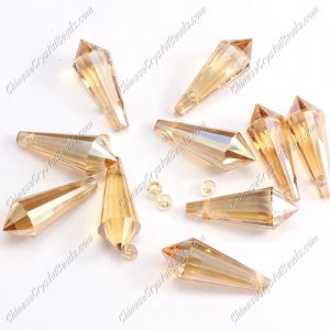 Chinese Crystal Icicle Drop Beads, 8x20mm, 1-hole, gloden shadow, sold per pkg of 10 pcs